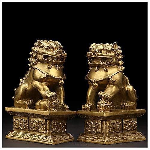 LEILEI Estatua de Bronce de Feng Shui,Adornos de Prosperidad de Riqueza de león,par de Perros,Escultura de guardián de FU Foo,protección contra la energía del Mal,Figura Decorativa de Feng Shui