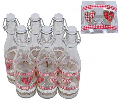 Set van 6 glazen flessen met beugelsluiting, 1 liter Love waterfles, drinkfles.