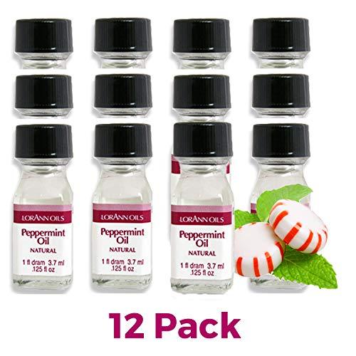 LorAnn Peppermint Oil Super Strength Natural Flavor, 1 dram bottle (.0125 fl oz - 3.7ml)- 12 pack