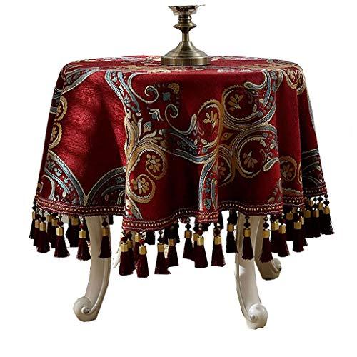 WENJUN Tafelkleed Grote Ronde Tafelkleed Eettafel Rood Tafelkleed Hand Borduren Kerstmis Santa's Tafelkleed Ideaal Voor 4-6 Plaats Instellingen