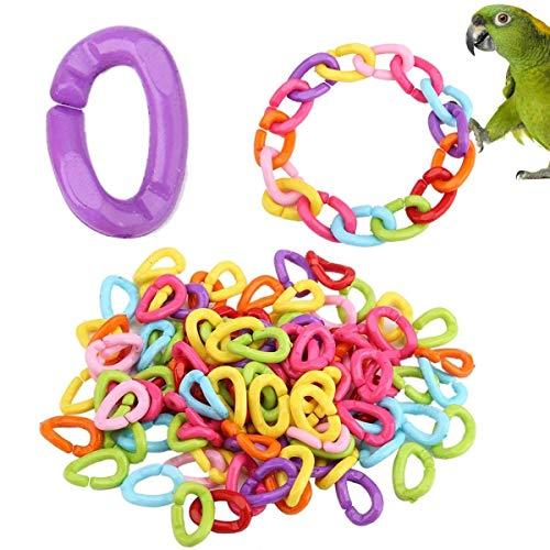 NA 100 Stück Kunststoffhaken Kettenglieder Papagei C-Clips Haken Vogel Schaukel Spielzeug Bunte C-Links für DIY Papagei Kleintier Kinder Lernspielzeug