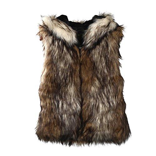 DOLDOA Pelzweste Damen,Damen Modisch Kunstpelz Weste Fellweste West Kunstfell Winterjacke Ärmellos Faux-Pelz Mantel Jacket Waistcoat