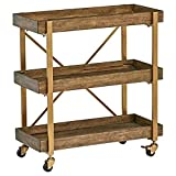 Amazon Brand – Rivet 3-Tiered Rustic Metallic Rolling Wood and Metal Bar Cart, 29.9'W, Natural