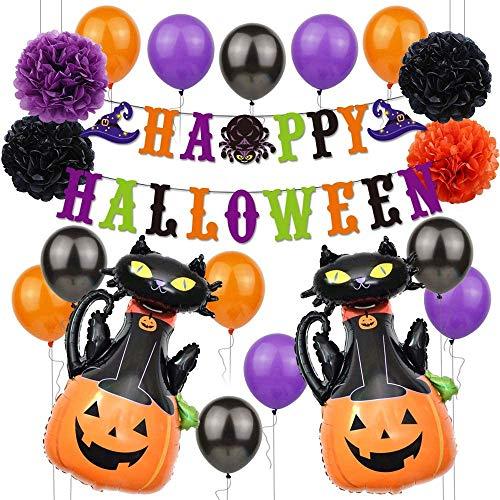 19 Piezas de Globos de Decoración de Fiesta de Halloween, Kit de Globos de Halloween con Pancarta, Decoración de Bar en Casa, Látex Negro Naranja y Suministros de Fiesta de Globos de Aluminio