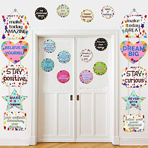 22 Pieces Classroom Decoration Banner Motivation Positive Porch Sign Confetti Positive Sayings Accents for Classroom, Bulletin Board, Office, Home, Black Board, Nursery Decoration