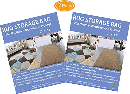 HUO ZAO 9' x 12' Rug Bag for Storage and Temporary Moving, Zip Tie Closure Without Vent Hole (2)