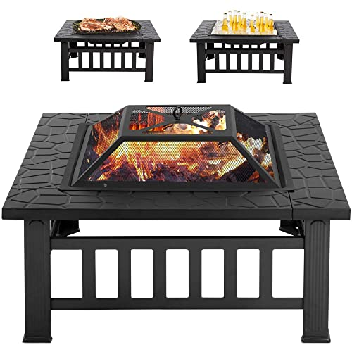 Multifunctional Fire Pit Table 32in Outdoor Fire Pits Square Metal Bonfire Pit Portable Fire Pit Wood Burning Fire Pit With Spark Screen And Poker For Camping, Outdoor Heating, Bonfire And Picnic