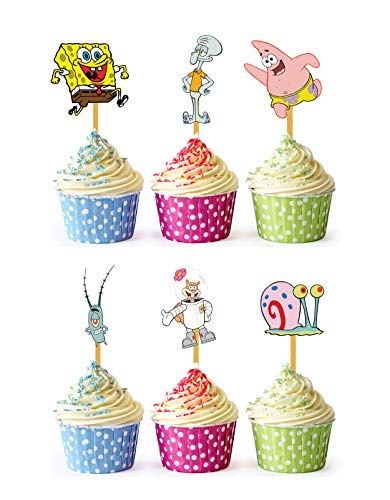 24x Cupcake Topper Picks (Spongebob)