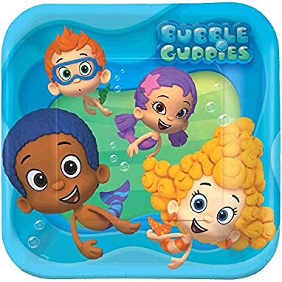 """Bubbly-rrific Bubble Guppies Square Birthday Party Paper Plates Disposable Tableware and Dishware, 9"""", Pack of 8. from American Greetings- Toys"""