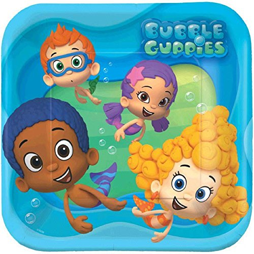 Bubbly-rrific Bubble Guppies Square Birthday Party Paper Plates Disposable Tableware and Dishware, 9', Pack of 8.