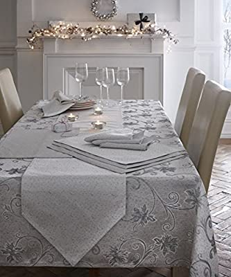 Christmas Table Cloth Glitter Effect Ravina Silver Greay seats 6 People 140 X 180Cm