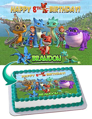 Cakecery Dragons Rescue Riders Edible Cake Image Topper Personalized Birthday Cake Banner 1/4 Sheet