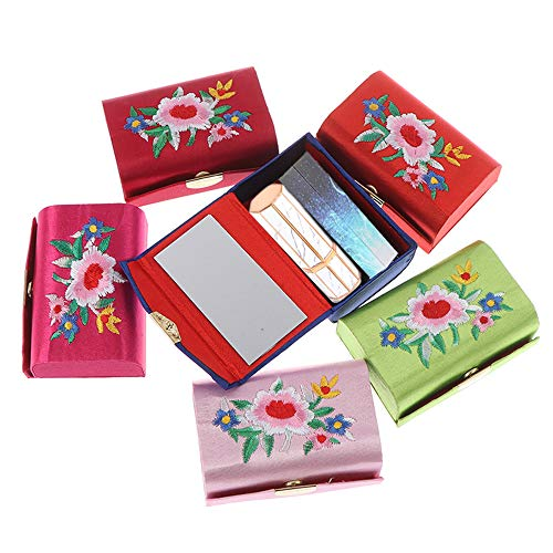 MZY1188 2PCS Portable Press Stud Lipstick Holder, Lady Flower Embroidery Retro Lipstick Case with Mirror Jewelry Lipstick Box Holder (Random Color)