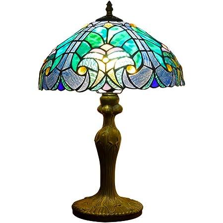 Hobaca 12 pouces Ocean Lumière Tiffany Lampes de bureau Fait main Vitrail Lampe turque Lampe de chevet Lampe de bureau classique Art décoratif pour chambre Salon Bar Café Table