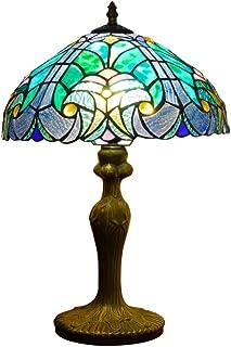 Hobaca 12 pouces Ocean Lumière Tiffany Lampes de bureau Fait main Vitrail Lampe turque Lampe de chevet Lampe de bureau cla...