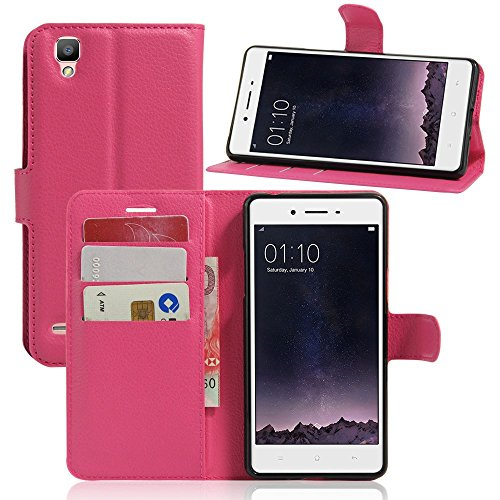 Tasche für OPPO F1 (5 zoll) / OPPO A35 Hülle, Ycloud PU Ledertasche Flip Cover Wallet Hülle Handyhülle mit Stand Function Credit Card Slots Bookstyle Purse Design Rose Red