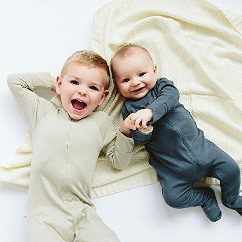 goumikids Goumi'all, Smart Adjustable Footie Baby Pajamas Made with Soft, Organic Material (0-3 Months, Moss)
