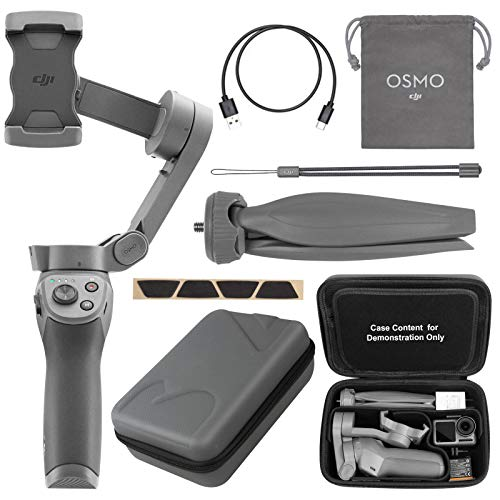 DJI Osmo Mobile 3 Handheld Smartphone Camera Gimbal Bundle with Adjustable Grip Handle Tripod and Customizable Carrying Case (Fits Gimbal, Tripod and Other Essential Stuff)