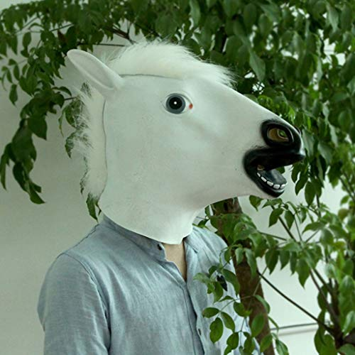 Glzcyoo Bruin Paardenmasker, Griezelig Paardenhoofd Masker, Rubber Latex Diermasker, Halloween Kostuums Horseman Masker