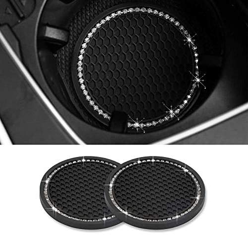 """Bling Car Coasters 2 Packs PVC Car Cup Holder Insert Coaster - Anti Slip Universal Vehicle Interior Accessories Crystal Glitter Cup Mats for Women and Men (2.75"""" Diameter, Black)"""