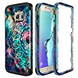 Lamcase for Galaxy S6 Edge Case Shockproof Dual Layer Hard PC & Flexible Silicone High Impact Durable Bumper Protective Case Cover Samsung Galaxy S6 Edge G925, Mandala/Galaxy