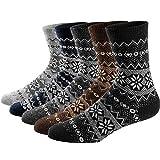 Ueither 5 Pares de Calcetines de Lana Tejida Gruesa Cálida y Suave para Invierno y Otoño de Estilo Antiguo para Hombres (38-44, Color 5)
