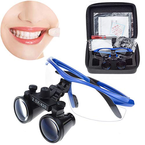 East-2.5X420mm Blue Color Surgical Medical Binocular Loupes Optical Glass DY-101 Plastic Frame with Antifog