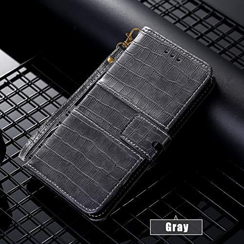 SevenPanda Wallet Case für iPhone XR Krokoprägung PU Leder Flip Case Cover [Stand Funktion] mit Handschlaufe und [Kartenfächern] Ausweis und Kredit Kartenfach für iPhone XR 6.1 Zoll (Grau)