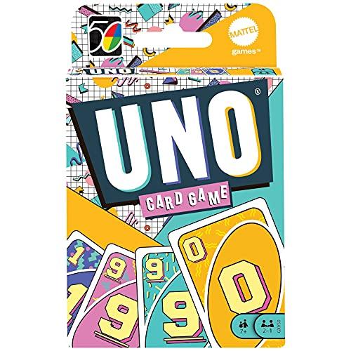UNO Iconic década 90s, Juego de Mesa Familiar de 2 a 10 Jugadores