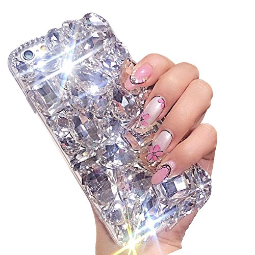 Aearl Bling Diamond Case for Samsung Galaxy S10 Plus, 3D Homemade Luxury Sparkle Crystal Rhinestone Shiny Glitter Full Clear [Heavy Duty] Stones Back Phone Cover for Galaxy S10 Plus-All White