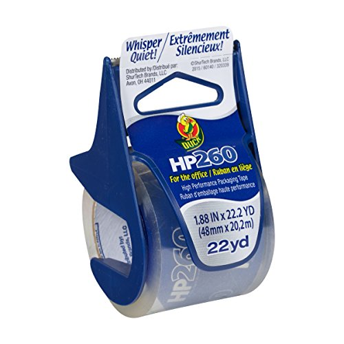 Duck Brand HP260 High Performance Packaging Tape with Dispenser, 1.88 Inches x 22.2 Yards, Clear (920352)