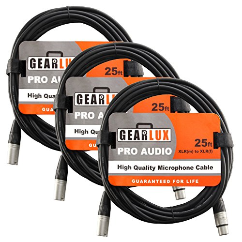 Gearlux XLR Microphone Cable Male to Female 25 Ft Fully Balanced Premium Mic Cable - 3 Pack