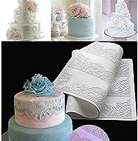 ケーキ飾るペストリーツールシリコンベーキングマットのためのフォンダンシリコーンレースマットカビ花柄の形の耐熱皿ベーキングトレイ金型