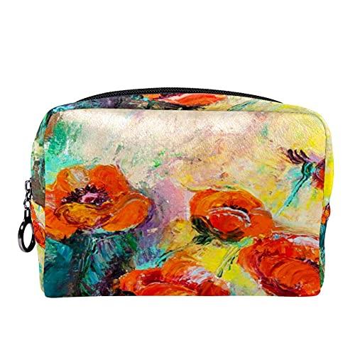 Bolsa de cosméticos para Mujeres Amapolas en una Cama Pintada al óleo Bolsas de Maquillaje espaciosas Neceser de Viaje Organizador de Accesorios