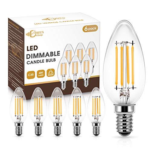 E14 Regulable LED Bombilla Vela de Filamento, DORESshop Bombilla LED E14, Bombillas de vela SES, 4W Equivalente a 40W, Blanco Cálido 2700K,...