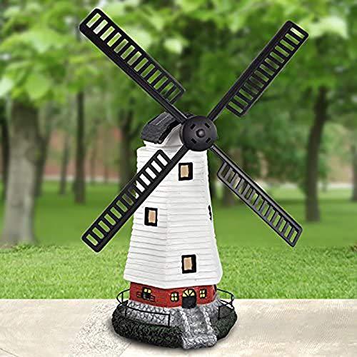 HITECHLIFE Molino de viento tradicional alimentado por energía solar, molino de viento con adorno de jardín con luz solar LED, luz decorativa de molino de viento impermeable con temporizador ajustable