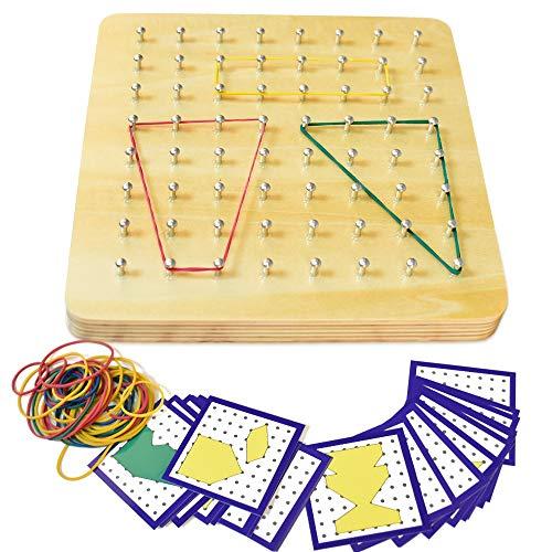 HUADADA Holz Geoboard Set Geometriebrett Montessori Spielzeug mit Aktivitäts Muster Karten und Gummi Bändern Für Kinder und Erwachsene, Form Puzzle Brett Inspirieren Feinmotorik Förderung