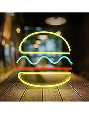 LED hamburgare neonljus för sovrum rumsdekor konst vägg hängande lampor vägglampa dekorativa USB neonskyltar lampa neonskyltar