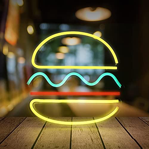Lámpara LED de neón con forma de hamburguesa para dormitorio, decoración de habitaciones, arte mural, lámpara decorativa USB