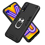 GOGME Cover per Vivo Y11s, 360°Girevole Regolabile Ring Armor Bumper TPU Case Magnetica Supporto Cover, Heavy Duty Hybrid Armor Hard Back Custodia Silicone Cover, Nero
