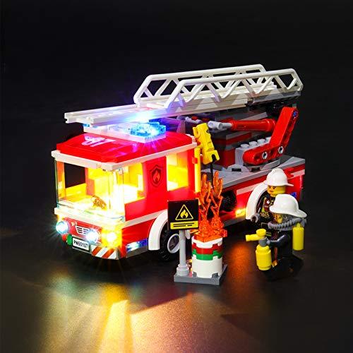 Kit De Iluminación Led para Lego City Camión De Bomberos con Escalera, Compatible con Ladrillos De Construcción Lego Modelo 60107 (NO Incluido En El Modelo)