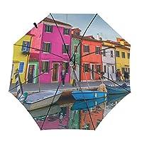 傘 カラフルなヴェネツィア 折りたたみ傘 日傘 ワンタッチ 自動開閉 紫外線遮蔽 超撥水 晴雨兼用 メーズ レディース 携帯しやすい 収納ポーチ付き