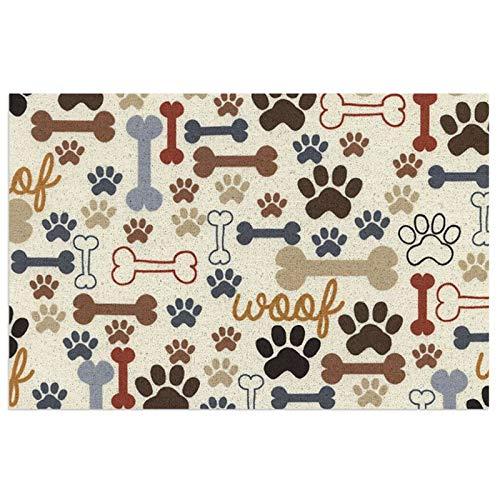 Sunzhenyu Felpudo con huellas de huesos de perro, felpudo de bienvenida, felpudo para exteriores, alfombra de interior antideslizante, alfombra lavable para porche frontal, cocina, entrada, 40 x 60 cm