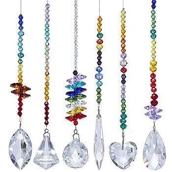 H&D HYALINE & DORA Colorful Crystals Glass Pendants Chandelier Suncatchers Prisms Hanging Ornament Octogon Chakra Crystal Pendants for Home,Office,Garden Decoration,Pack of 6