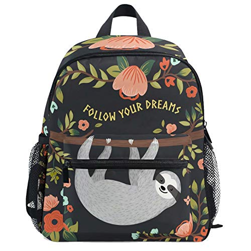 Summer Tropical Sloth Floral Backpack for Kids Girls Boys Funny Animal Palm Leaf Bookbag Daypack with Chest Strap Mini Elementary School Bags Water Resistant Durable for School Student