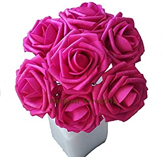 Rina 50 pcs Artificial Flowers Foam Roses Various Colors For Bridal Bouquet Bouquets Wedding Centerpieces Kissing Balls (Hot Pink)