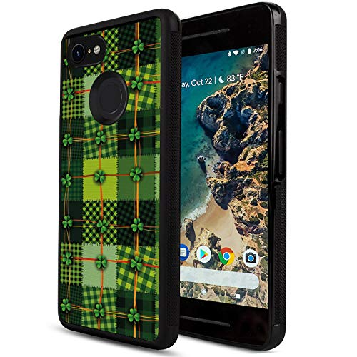 Google Pixel 2 XL Cell Phone Case [6-Inch] Irish Patchwork Style St. Patrick's Day Themed Celtic Quilt Cultural Checkered with Clovers Multicolor