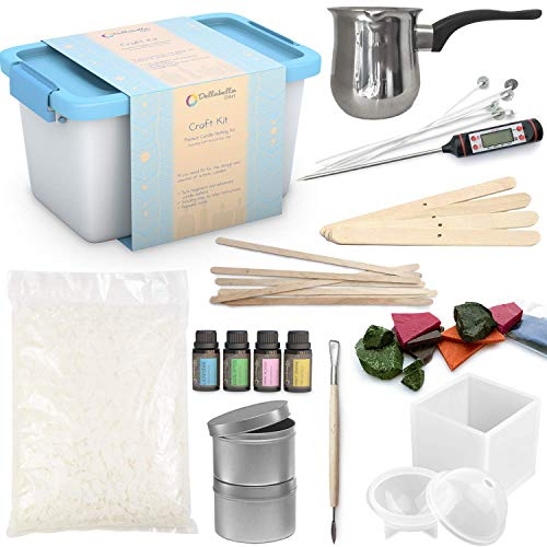 Candle Making Kit – Wax and Accessory DIY Set for The Making of Scented Candles - Easy to Make Colored Candle Soy Wax Kit