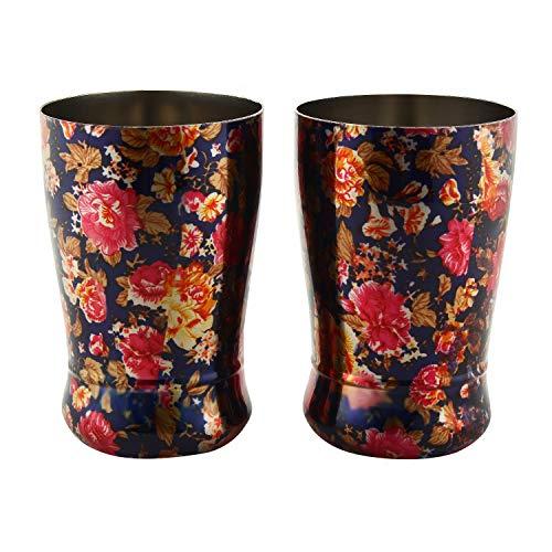 Zap Impex roestvrij staal bloem bedrukt kleurrijke koffiekop, koude koffie, bierglas, cappuccino kopjes 250 ml set van 2