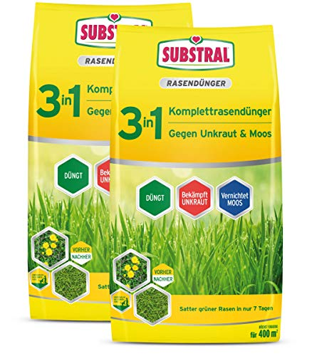 Substral 3 in 1 Komplett Rasendünger mit Unkrautvernichter und Moosvernichter, 28 kg für 800 m²